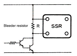connect a bleeder resistor as in the figure above and set the bleeder  resistance value so that the solid-state relay input voltage is 0 5 v max   when the